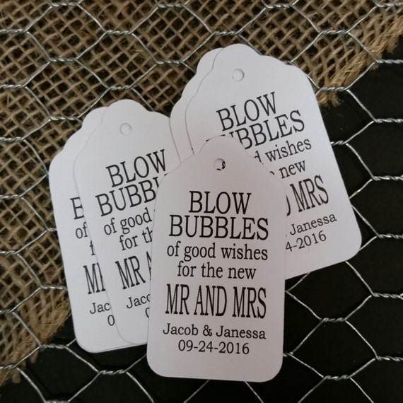 Blow Bubbles of good wishes for the new Mr and Mrs MEDIUM Personalized Wedding Favor Tag  choose your amount