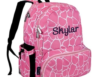 Girls Monogram Backpack Pink Giraffe, School Book Bag, Personalized, Megapack