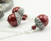 Acorn Necklace and Earrings with Bordeaux Swarovski Pearls - Sterling Silver - Bridesmaid Jewelry Set Burgundy Cranberry - Acorn Jewelry Set