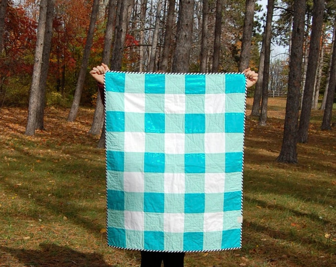 CLEARANCE Turquoise Gingham Crib Quilt, Ready to Ship