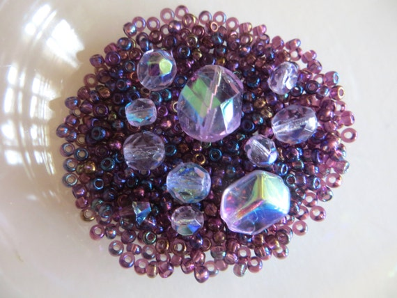 Purple Seed Bead Mix, Iridescent Glass Bead Destash