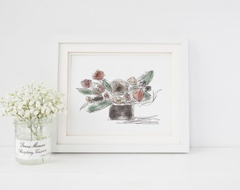 PRE-ORDER Muted Floral Arrangement Art Print