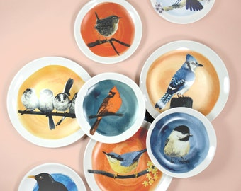 Wall plate gallery with bird illustrations - made to order