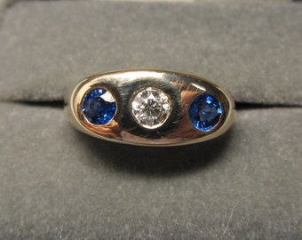 Vintage 18Kt Gold Men's Sapphire and Diamond Three Stone Ring
