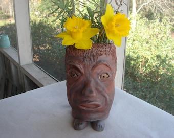 Unquie Handbuilt Face Vase, Pencil Holder