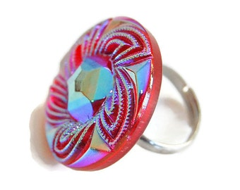 Blue and Red Iridescent Button Ring, Adjustable Ring,