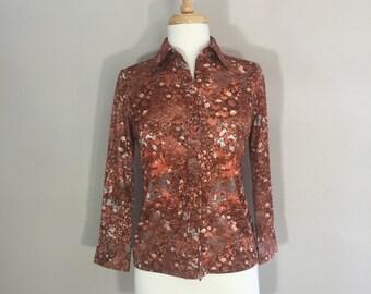 Rust Floral Top, 70s Floral Blouse, Wide Lapel Top, Burnt Orange Top, 70s blouse, pointed collar, satian blouse, button down blouse