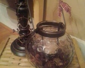 Primitive Country Hanging Candle Holder - Grubby candle jar, cinnamon potpourri Rustic Home decoration
