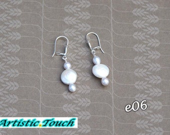 Coin Pearl Earrings 10-11mm white coin pearls and 4mm silver rice pearl on sterling silver safety hooks, gifts for mom, Bridal jewelry