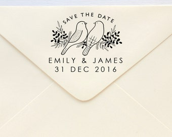 Save The Date Stamp - Lovebirds ver.2 - Rubber Stamp or Self-inking Stamp