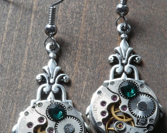Steampunk Earrings - Emerald Green Swarovski Crystal