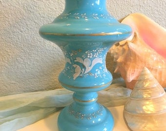 French Blue Glass Urn Vase Hand Painted