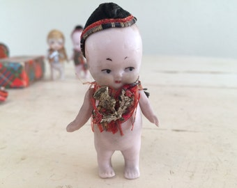 Antique German Tiny Bisque Miniature Boy Doll with Hat