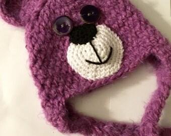Crochet Bear Face Hat, Earflap, Purple, All Children's Sizes