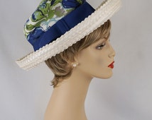 Wide Curled Brim Hat White Straw with High Blue Floral Crown by Norman Durand Sz 21