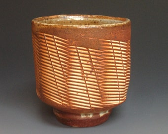 Yunomi with Paddled Decoration. Stoneware Pottery. Soda Fired