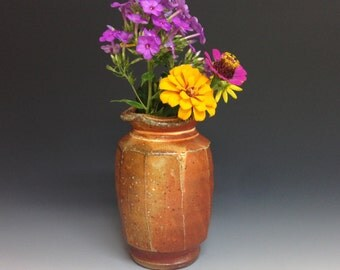 Flower Vase. Soda Fired Stoneware Pottery.  Ready to Ship