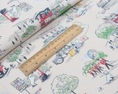 4230 - Cath Kidston Billie Goes To Town (Light Beige) Cotton Canvas Fabric - 57 Inch (Width) x 1/2 Yard (Length)