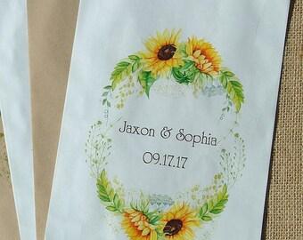 Wedding Favor Bags   Sunflower Wedding   Sunflower Favor Bags   Sunflowers   Popcorn Bags   Wedding Favors   Sunflower Bags   Candy Bags