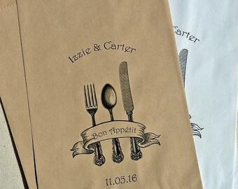 Wedding Bags - Wedding Paper Bags - Utensil Bags - Cookie Bags - Rustic Wedding - Printed Favor Bag - Wedding Candy Bags