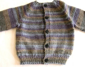 toddler hand knit sweater, 6 - 12 mos size, button front, purple, olive tan striped cardigan