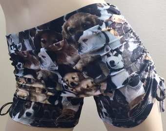 SHOWROOM SALE s/m - Hot Yoga Shorts Side Cinched Fitness Shorts Puppy Print