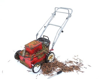 Ye Olde Lawn Mower for Miniature Garden, Dollhouse Miniature Garden, or Fairy Gardens, Grass Included, Rebuilt Motor, May Not Run