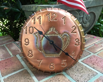 Teapot Copper Clock 10 Inch Hand Punched Copper By Larry West