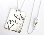 Silver Handwriting Pendant, custom handwriting jewelry, Memorial Jewelry, personalized gift for Mom, unisex pendant, Valentines Day gift