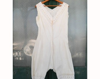 Antique Edwardian Victorian White Cotton Chemise with Eyelet Lace Trim