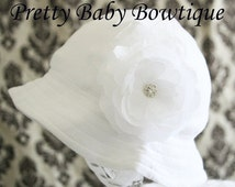 SALE Baby Sun Hat - Easter Bonnet - Baby Girl Bucket Hat - (Removeable) White Flower Clip With White Sun Hat- Fits (You Pick Size)