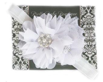 Christening Headband - White Baby Baptism Headband - Baby Girl Blessing Headband .... White Headband with Pearls