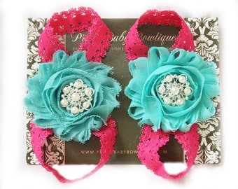 Girl Barefoot Sandals- Photo Prop- Baby Shoes- Baby Girl Sandals- Barefoot Sandals Mint and Hot Pink