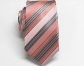 Mens Ties. Coral Pale Pink Blue Stripe Neckties.  Wedding Narrow Neckties. Groomsmen's Ties