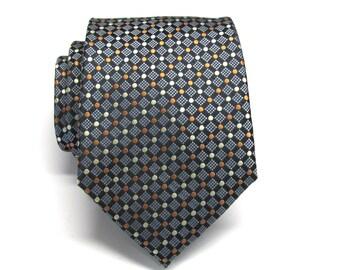 Men's Ties. Black Rust Orange Yellow Dot Mens Tie