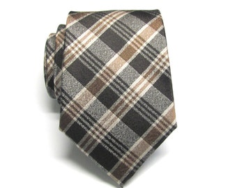 Mens Tie. Brown Tan Chcolate Brown Plaid Mens Necktie with Matching Pocket Square Option