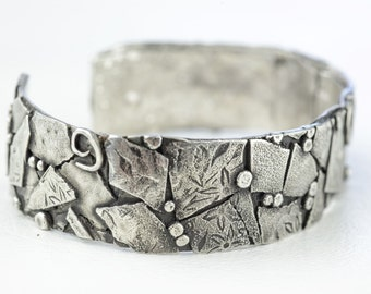 Fused Silver Bracelet Cuff Sterling Sculptural Artisan Contemporary Abstract Cuff