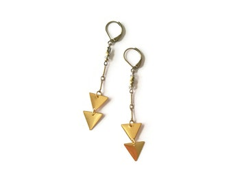 Vintage Chevron Earrings - Geometric Jewelry - Gold Brass Triangle Earrings - Arrows - Fishtail Earrings (SD827)
