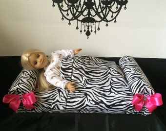 Doll Bed for American Girl Journey Girl My Generation 18 inch Dolls LaLaLoopsie Barbie Teddy Bear Bedding Quilt By So Zoey Boutique SALE