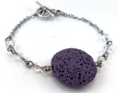 Purple Lava Bracelet, Essential Oil Bracelet, Lava Stone Jewelry, Diffuser Pendant, Aromatherapy Jewelry, Coin Pendant, Swarovski Crystals
