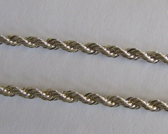 24 Inch, 4mm Thick, Silver Plated Rope Chain, Ready To Wear, For Pendant Necklace,  Britz Beads Supply