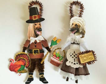 Afghan Hound THANKSGIVING PILGRIM ornaments Dog ornaments vintage style chenille ORNAMENTS set of 2