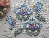 Butterfly Trim Embellishments, Hand Dyed Venise Lace Appliques, Crazy Quilt, Scrapbooking