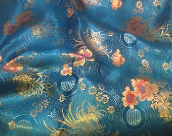 Turquoise Floral Medallions - Faux Silk Brocade Fabric - 1 Yard