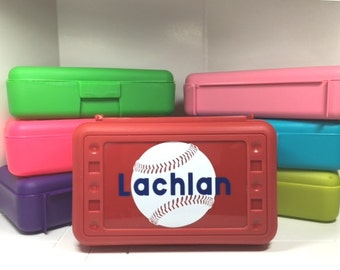 Personalized Pencil Box, pencil case with Baseball or Softball and name
