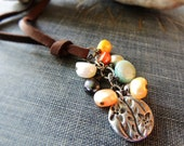 Pearl Leather Necklace / Pearl Cluster Pewter Charm Tassel / Boho Jewelry / Sundance / Organic Necklace / Summer / Etsy / Madison Gallery