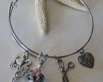 I Love to Scrap - Scrapbookkeeping Alex & Ani Style Charm Bracelet  - FREE SHIPPING