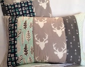 Woodland Buck Forest Quilted Pillow Cover 12x16 Inches - Deer Silhouette, Arrows, Feathers - MADE TO ORDER