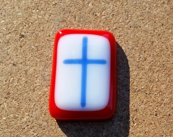 Comfort Pocket Cross Red and Blue Fused Glass - Worry Stone - Christmas Stocking Stuffer