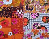 NOW ON SALE vintage fabric samples - 1970 fabric sample collection - Orange - 8 pieces
